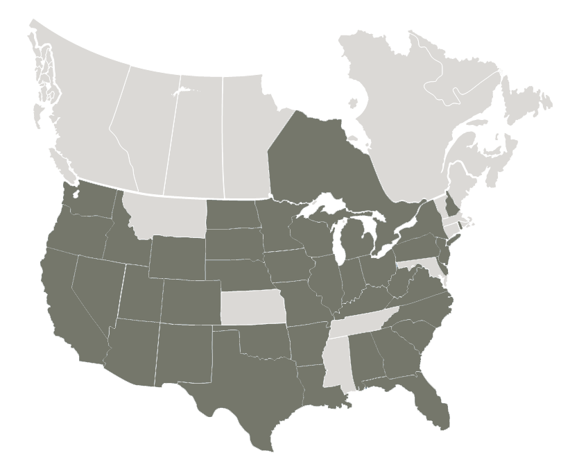 Map of USA and Canada highlighting where our offices are located